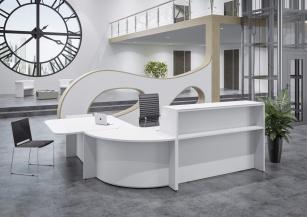 Mobilier Banque d'accueil - Banque d'accueil Hello avec angle et PMR