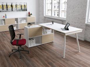 Bureau Home office - Bureau avec rangement Nature Métal