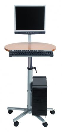 Bureau réglable en hauteur - Poste assis-debout pour écran plat sur roulettes