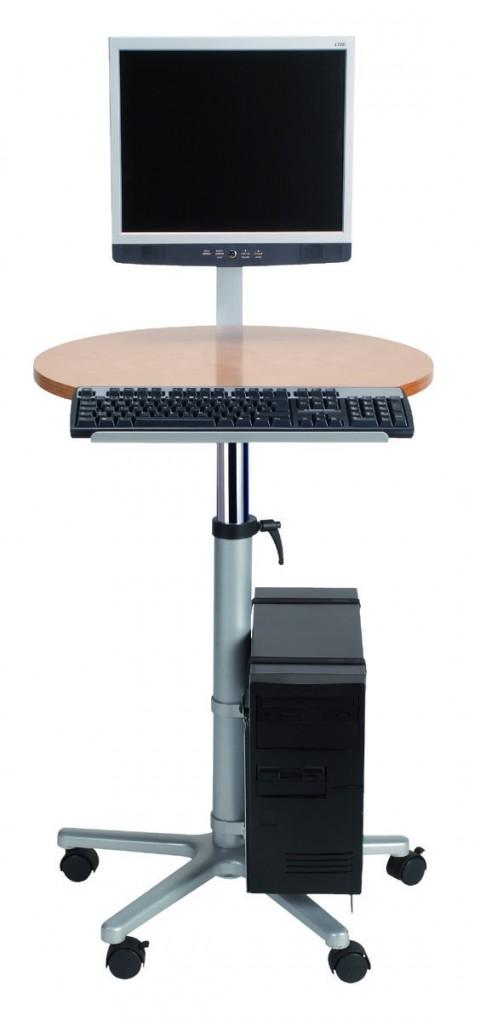 Poste assis-debout pour écran plat sur roulettes