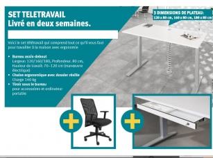 Bureau télétravail - Pack télétravail bureau électrique+siège+ tiroir