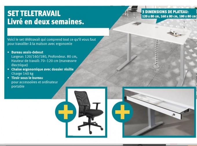 Pack télétravail bureau électrique+siège+ tiroir