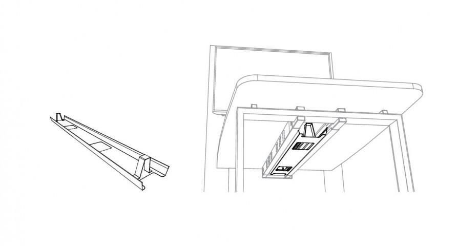Goulotte horizontale pour Table  Visio Hub Média