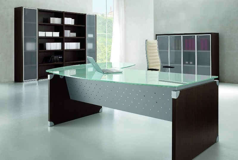 bureau de direction en verre worky avec retour. Black Bedroom Furniture Sets. Home Design Ideas
