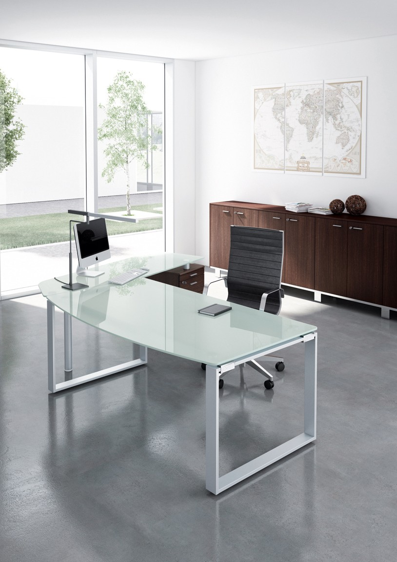 bureau en verre rondo retour sur caisson achat bureaux de direction 2 125 00. Black Bedroom Furniture Sets. Home Design Ideas