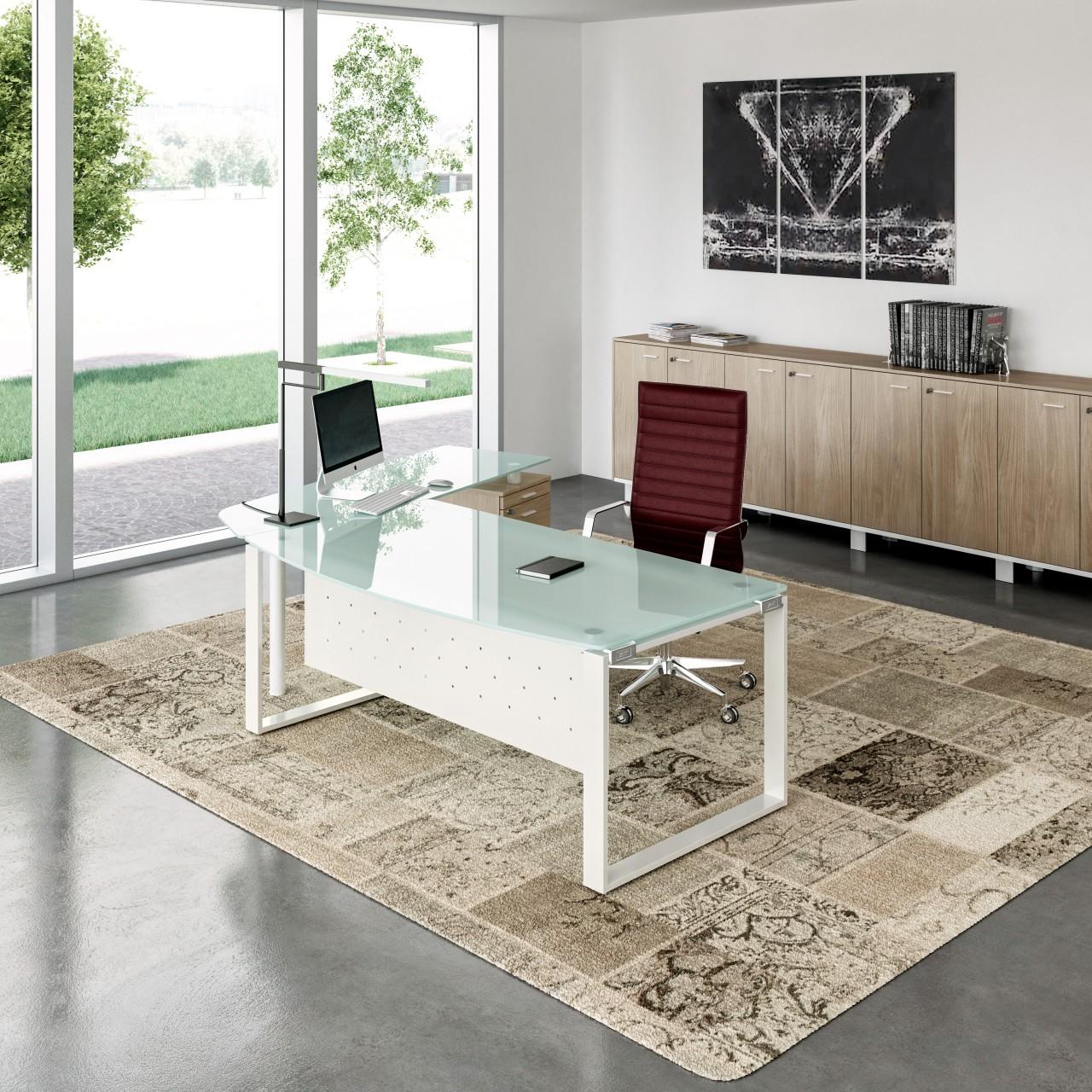 Bureau en verre x time manager achat bureau design 2 199 00 - Plateau verre trempe bureau ...