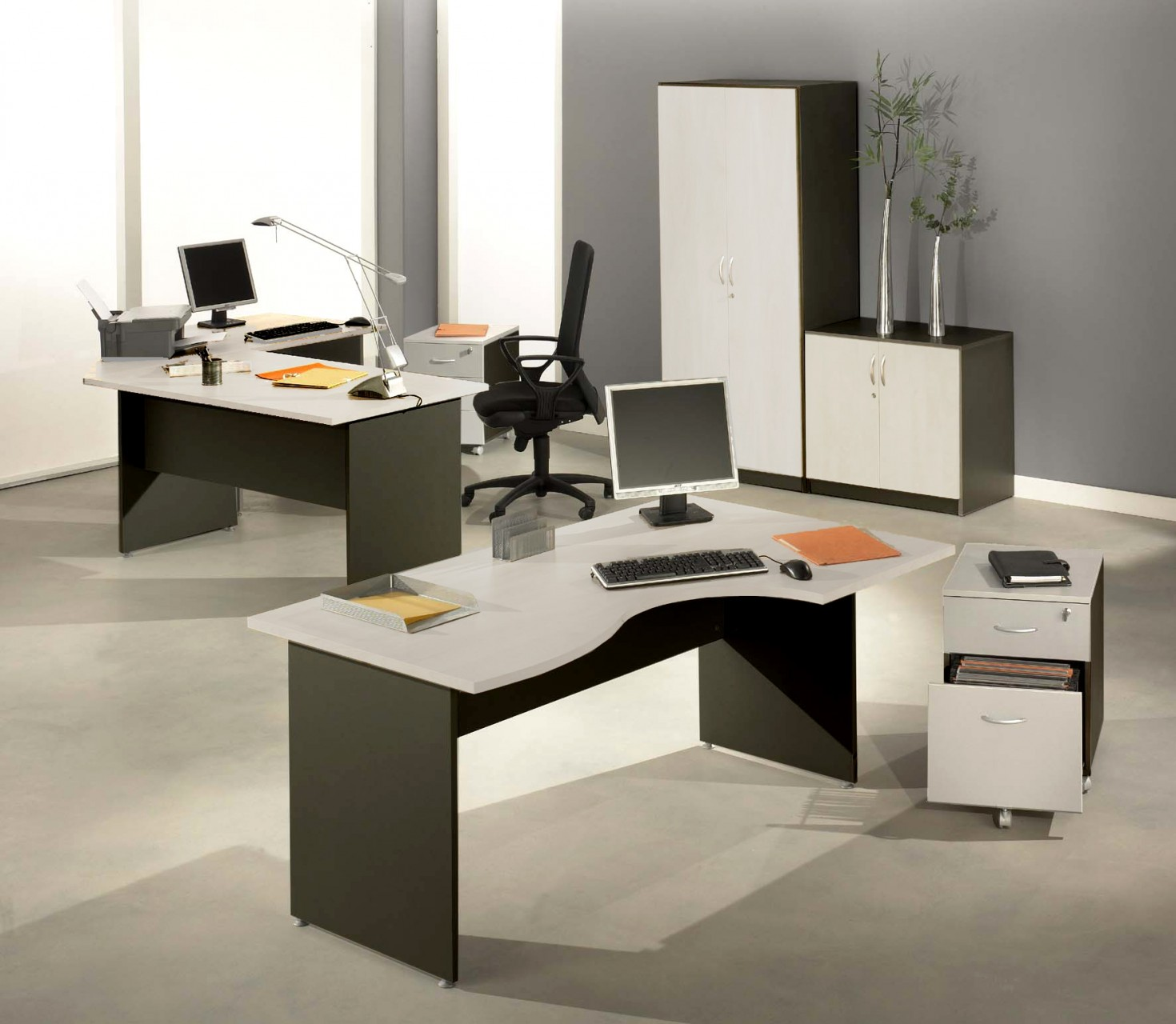 bureau droit modulaire winch bicolore achat bureaux droits 109 00. Black Bedroom Furniture Sets. Home Design Ideas