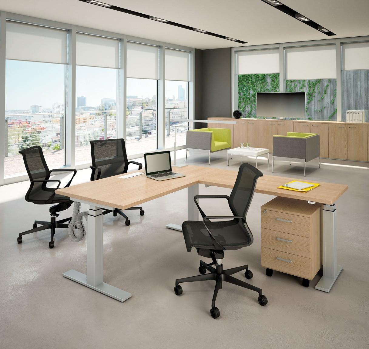 bureau assis debout lectrique modul avec retour achat bureaux r glables en hauteur 1 526 00. Black Bedroom Furniture Sets. Home Design Ideas