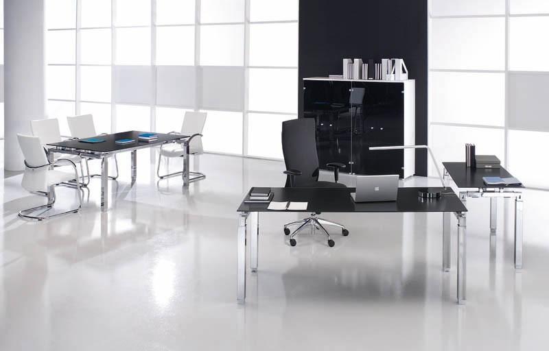 Bureau de direction en verre rock 4 180 x 80 cm for Petit bureau en verre