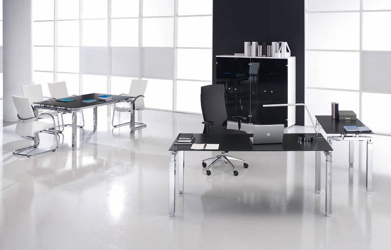 Bureau de direction en verre rock 4 180 x 80 cm - Petit bureau en verre ...