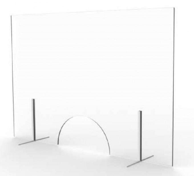 Cloison de comptoir amovible en verre avec fenêtre