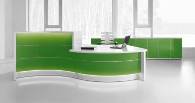 Mobilier Accueil entreprise - Banque d'accueil Courbe VALDE avec PMR