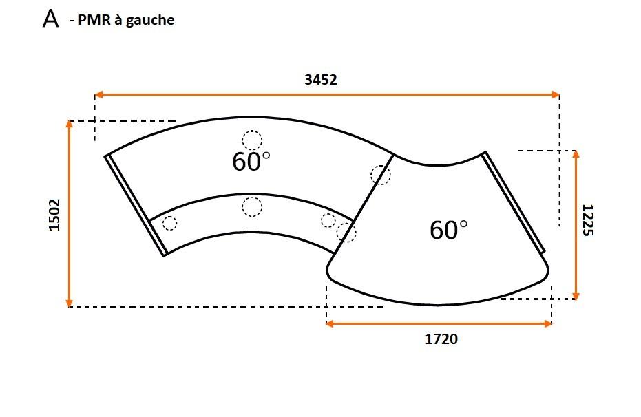 banque d 39 accueil double courbe valde avec pmr. Black Bedroom Furniture Sets. Home Design Ideas