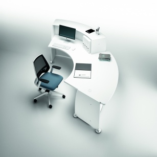 Mobilier Accueil entreprise - Banque d'accueil Glassy + Accès PMR