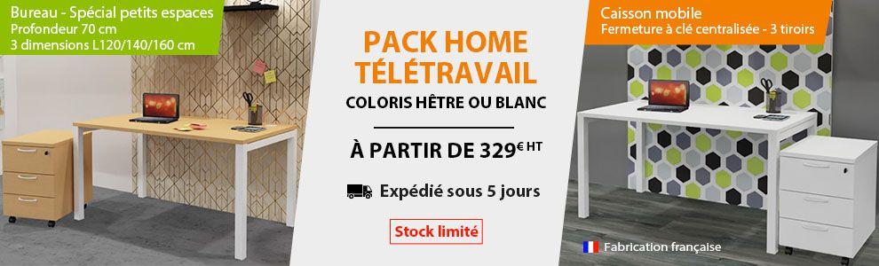 Pack Home Télétravail Bureau Blanc ou Bureau Hêtre