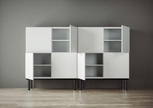 Armoire bois - Armoire 2 portes,2 niches PRESTIGIO