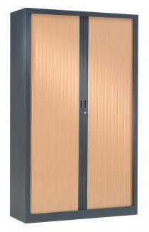 Armoire Bureau Métallique - Armoire à rideaux bicolore H198 cm