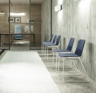 Siège visiteur et réunion - Chaise CLEM coque+tissu  pieds Luge
