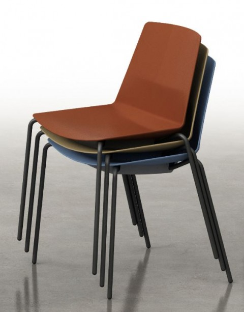 Chaise coque Clem 4 pieds métal