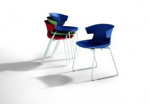 chaise de collectivité - Chaise empilable KOV pied traineau chromé