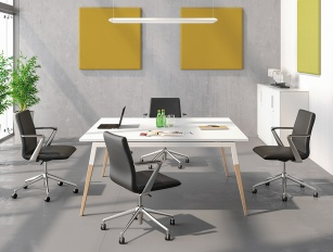 Table de réunion - Table de réunion carrée ASKA Stratifié antibactérien