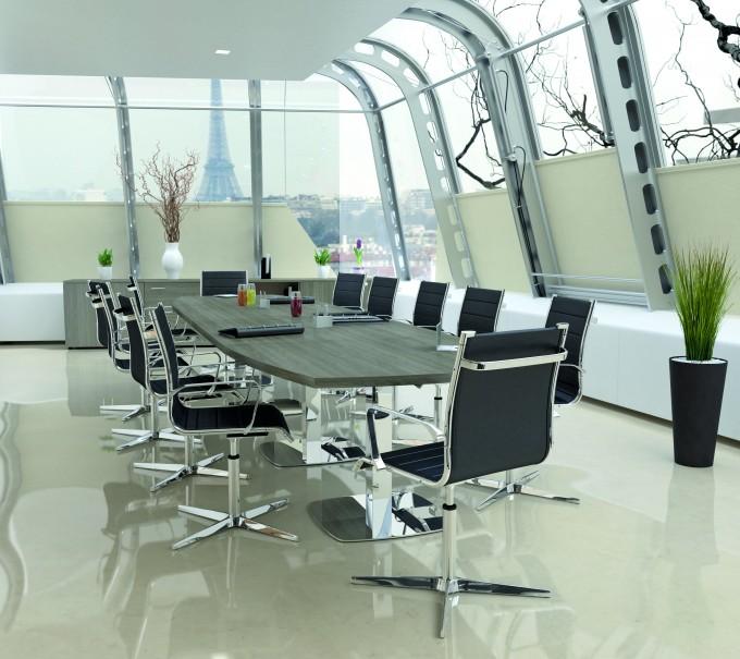 Table de réunion direction Tonneau 14/16 PL pieds carrés