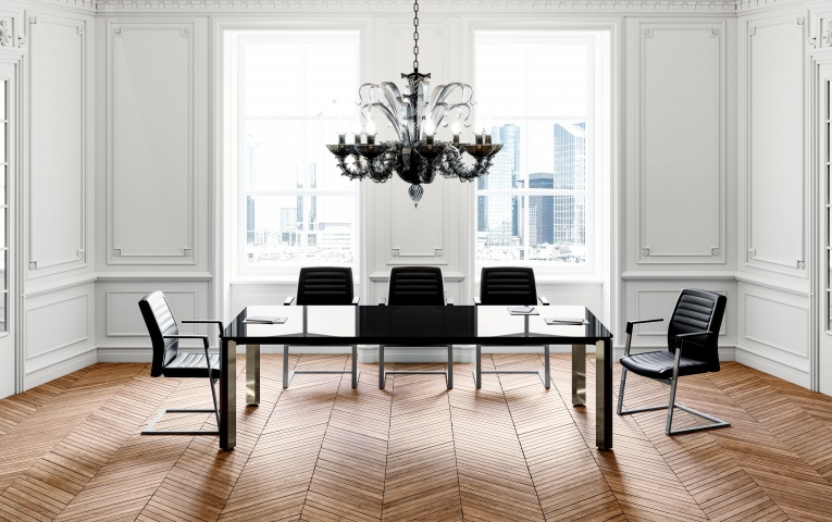 Table de réunion en verre 6-10 personnes JULES EXTRA