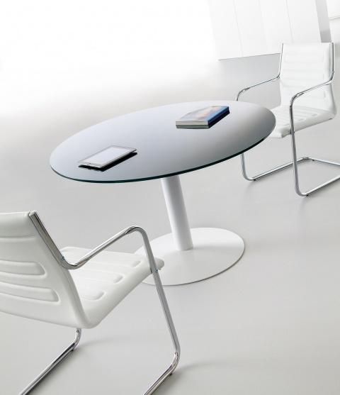 Table de réunion en verre graphite diamètre 120 cm