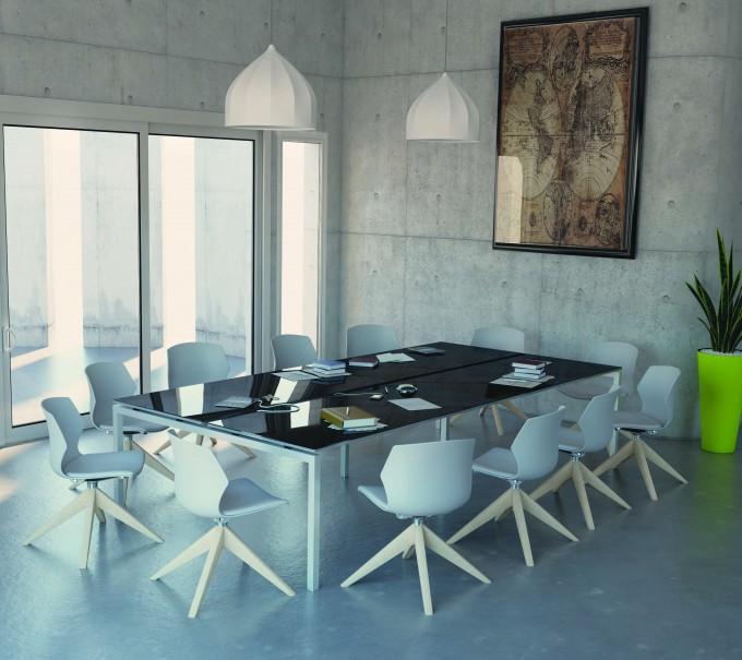 Table de réunion KINART Plateau brillant