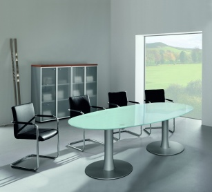 Table de réunion - Table de réunion ovale en verre