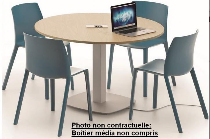 Table de réunion ronde pied tulipe carré