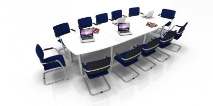 Tube - Table de réunion Tonneau 14/16 Places pieds ronds