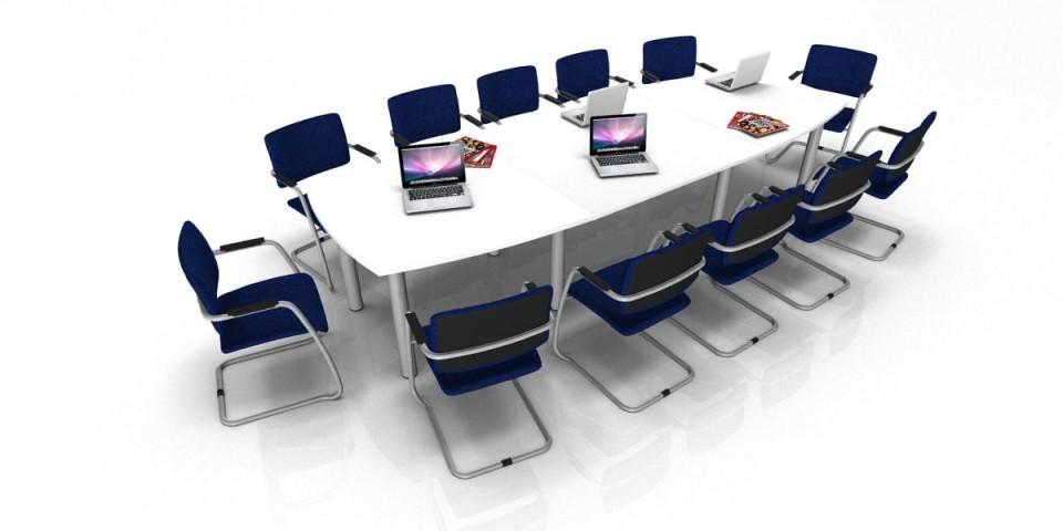 Table de réunion Tonneau 14/16 Places pieds ronds