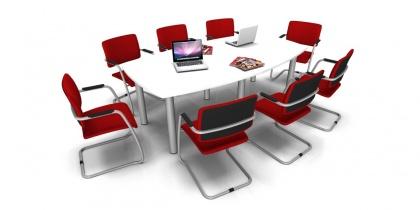 Table de réunion - Table de réunion tonneau 8/10 Places Pieds ronds