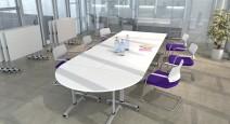 Tables pliantes et abattantes - Table de réunion basculante abattante 120 cm