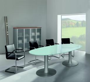 Tables de réunion - Table de réunion ovale en verre