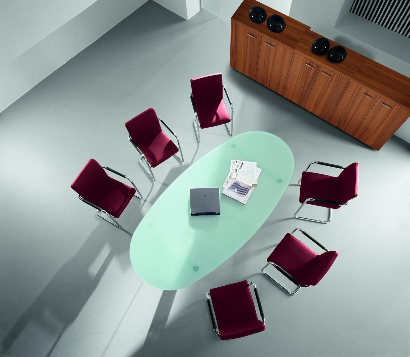 table de r union ovale en verre achat tables de r union 1 799 00. Black Bedroom Furniture Sets. Home Design Ideas